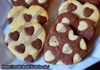 Schwarz-Weiß Herz Kekse