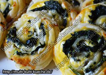 Blätterteig Spinat Schnecken