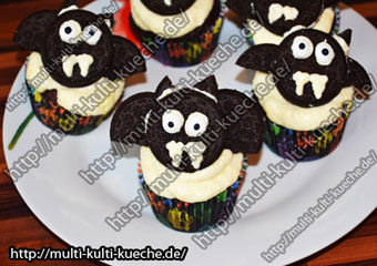 Rezept für Halloween - Fledermaus Muffins
