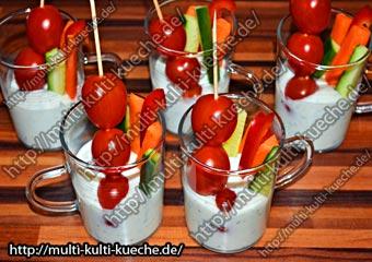 Gemüse Fingerfood mit Joghurt Quarkmischung