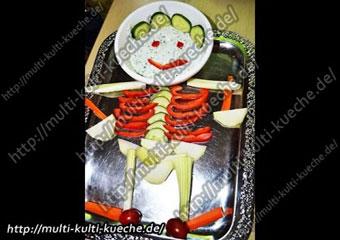 Gemüseskelett mit Joghurt Kräuter Dressing