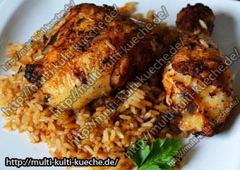 HaehnchenschenkelmitgebratenenReis Hähnchenkeule - Hähnchenschenkel mit gebratenen Reis