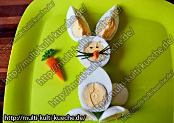 Hase aus gekochten Eiern