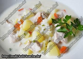 Käsesuppe mit Reis