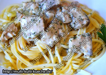 Spaghetti mit Lachs Käsesoße
