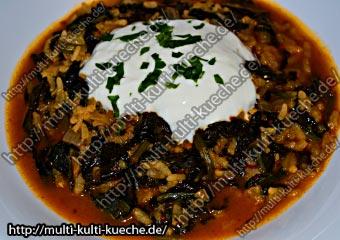 Türkisches Spinat Reis Gericht