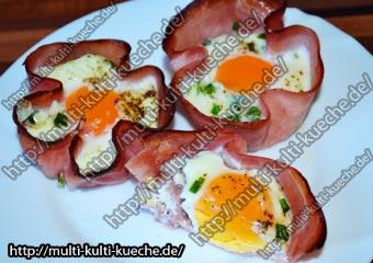 Schinken Ei Nest aus dem Ofen Schinkennest