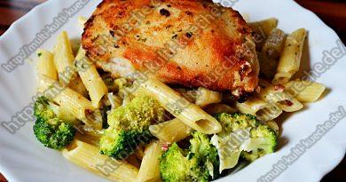 Schinkennudeln mit Hähnchenbrust und Brokkoli